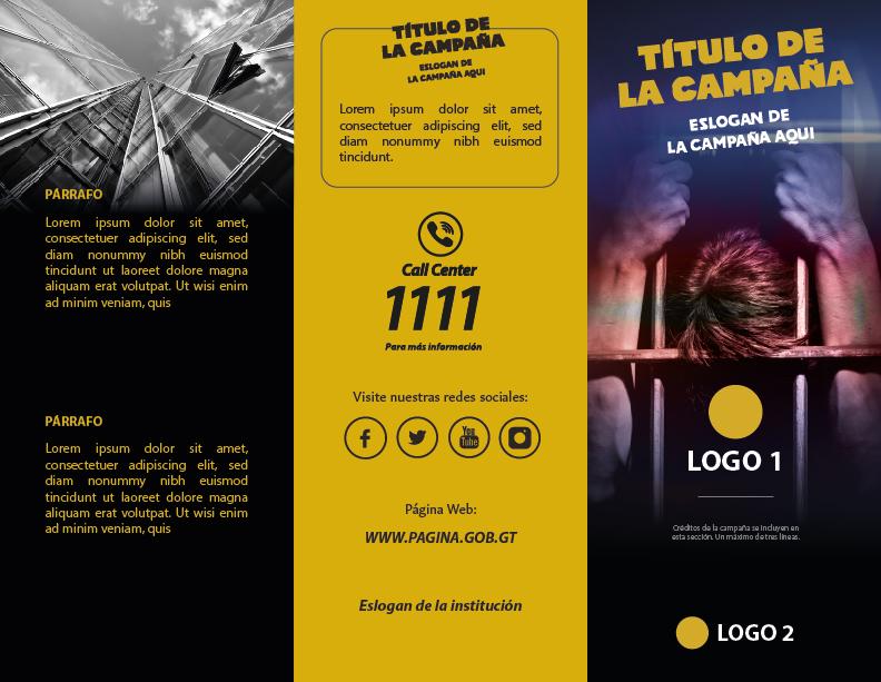 Trifoliar (lado externo) de la campaña de sensibilización de una institución descentralizada del gobierno de Guatemala